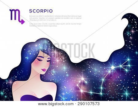 Scorpio Zodiac Sign Web Banner Layout. Astrological Calendar Symbol As Female Character. Space And S