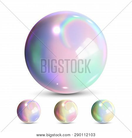 Sphere Ball Vector. Orb Shining. Magic Globe. Fluid Element. Jeweler Perl. Shine Glowing Metal Or Pl