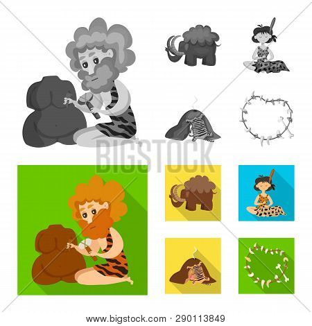 Vector illustration of evolution  and prehistory logo. Collection of evolution  and development  stock symbol for web. poster