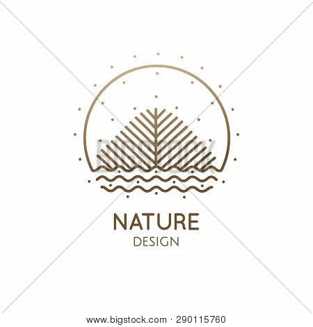 Nature Abstract Logo Of Sun, Tree, River. Vector Ornamental Icon Of Landscape. Linear Round Emblem,