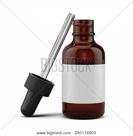 Open Small Dropper Bottle with a pipette and blank white label - 3d rendering mock-up template.