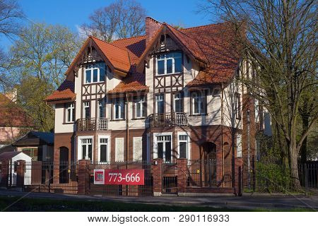 Kaliningrad, Russia - April 24, 2016: Typical Building In Historical Part Of Kaliningrad. Before 194