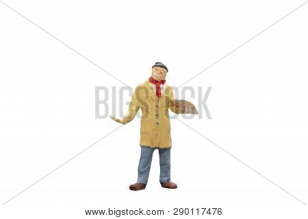 Miniature People : Artist Is Holding A Brush And Mix Color Painting On Palette. On White Background