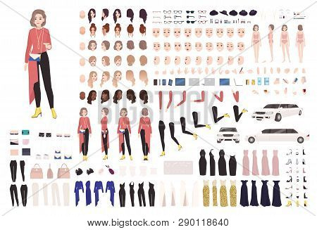 Elegant Woman Animation Kit Or Diy Set. Collection Of Body Parts, Gestures, Stylish Clothes And Acce