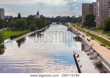 Kaliningrad, Russia - June 28, 2016: Cityview Of The Pregolya River And The Embankment Of Admiral Tr