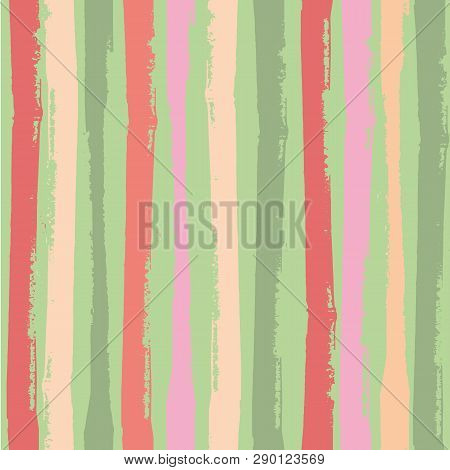 Modern Vertical Grunge Stripes In Vibrant Tropical Colours. Bright Seamless Vector Pattern On Green