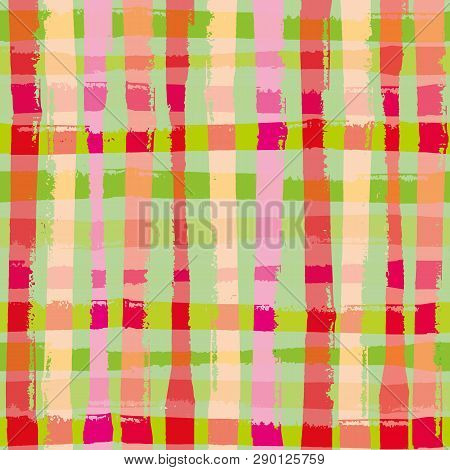 Vibrant Modern Grunge Check In Tropical Colours. Bright Seamless Vector Pattern With Summer Vibe. Gr