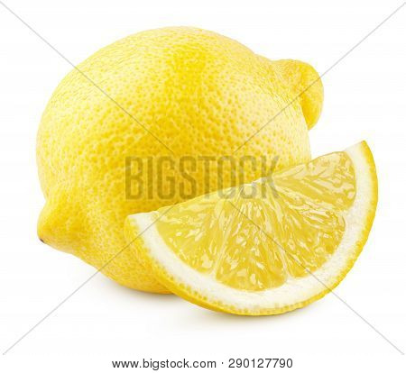 Ripe Whole Yellow Lemon Citrus Fruit With Lemon Slice Isolated On White Background With Clipping Pat