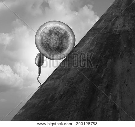 Fertility Struggle And Fertility Challenges As A Sisyphus Symbol Or Infertility With A Sperm And Hum