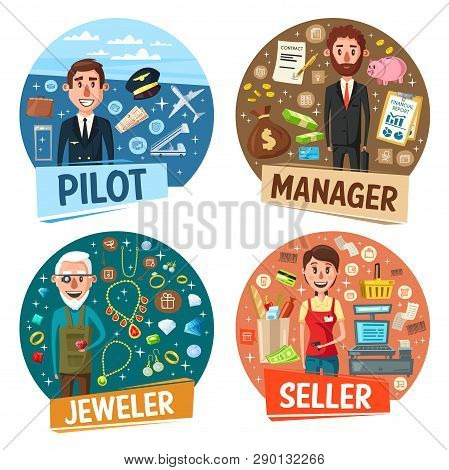 poster of Profession, pilot and manager, jeweler and seller. Vector airplane and aviator, money and businessman, goldsmith and rings, saleswoman and cash counter. Occupation or vacancy, workers hiring