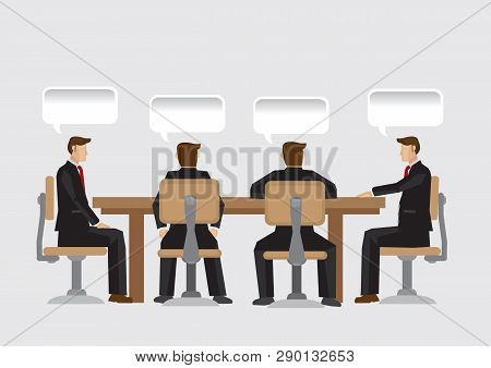 A Group Of Businessman Sitting At Conference Table And Blank Speech Balloons With Copy Space Above T