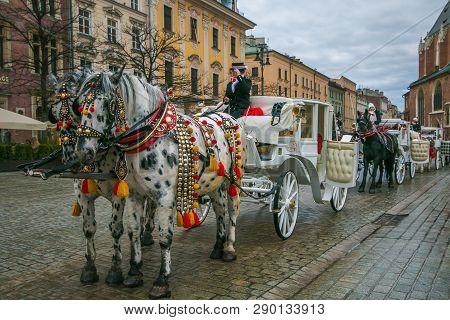 Krakow, Poland - March 10, 2019: Walking Tourist Carriage Drawn By White Horses On The Street Of Kra