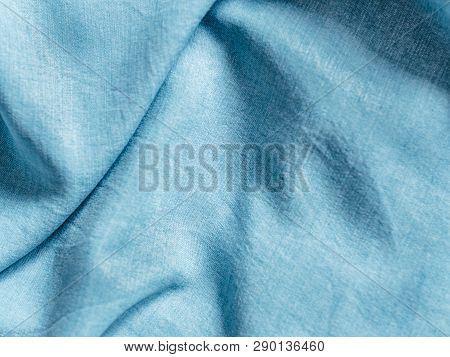 Modern Soft Jeans Blouse Texture Close Up. Lyocell Or Tencel Pattern - Modern Natural Cellulose Fabr