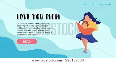 Vector Flat Banner Landing Page. Mother With A Child On Her Lap With A Child Reading. Babies Educati