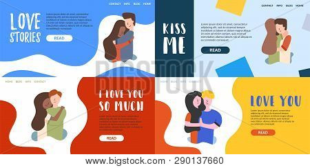 Vector Flat Banner Love Each Other Hugs. Films About Love And Romantic Relationship. Teaching Morali