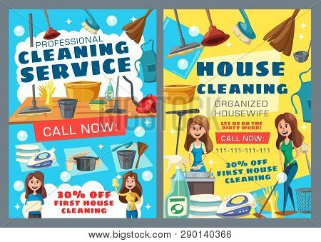 House Cleaning Service, Professional Housewife Help. Vector Washing And Laundry, Ironing And Dishwas