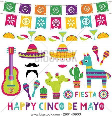 Colorful Cinco De Mayo Set (a Guitar, Pinata Donkey, Maracas, Sombreros, Decoration)