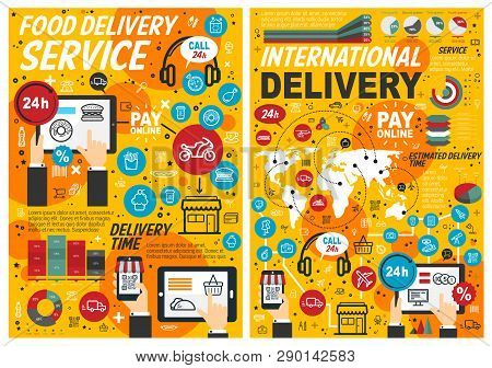 Food Delivery Services, Online Order And Pay, Estimated Delivery Time. Vector Fast Food, Graphs And