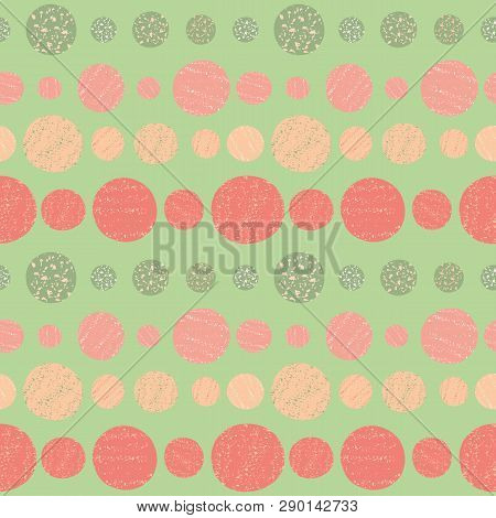 Hand Drawn Circles In Vibrant Tropical Colours. Seamless Horizontal Geometric Pattern With Crayon Te