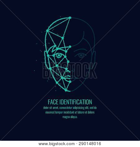 Biometric Identifier Of A Person. Face Identication Illustration