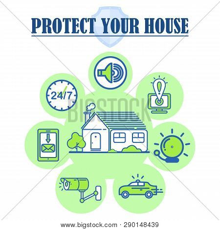High Quality House Security Service Linear Icons. Dwelling Protection Flat Vector Illustration. Guar