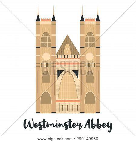 Westmister Abbey London Famous Landmark Isolated On White Background. Vector Illustration