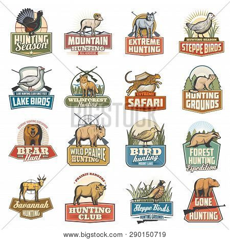 Hunting Sport Vector Icons, Wild Animals, Extreme And Safari Hunt. Blackcock And Goat, Wolf And Grou