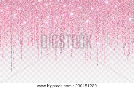 Pink Glitter Sparkle On A Transparent Background. Rose Gold Vibrant Background With Twinkle Lights.