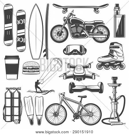 Hobby Activities And Sport Recreation Icons. Vector Snowboard And Surfboard, Skateboard And Vape. Mo