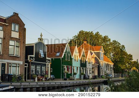 Picturesque Ethnographic Houses In Town Zaandam, Netherlands, Early Morning