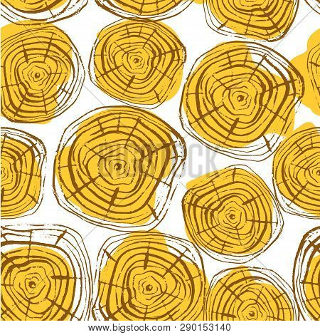 Tree Rings Seamless Vector Pattern. Saw Cut Tree Trunk Background. Vector Illustration For Textile,