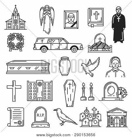 Funeral Vector Icons, Burial Interment Religious Ceremony. Vector Church Temple And Angel, Bible Boo