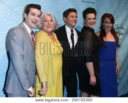 NEW YORK-APR 14: (L-R) Nick Spangler, Tyne Daly, David Burtka, Lisa Howard & Sierra Boggess at the Broadway after party for 'It Shoulda Been You' at The Edison Ballroom on April 14, 2015 in New York C