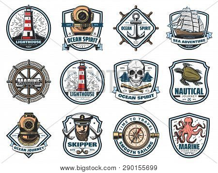 Marine Icons, Nautical Heraldry. Vector Lighthouse And Beacon, Diving Helmet And Anchor, Ship And St