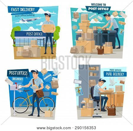 Mailman Or Postman, Mail Delivery, Parcels And Airmail. Vector Man In Uniform With Bag And Bicycle,