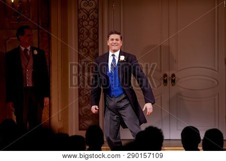 NEW YORK-APR 14: Actor David Burtka takes a bow at the curtain call for the Broadway opening night for 'It Shoulda Been You' at The Edison Ballroom on April 14, 2015 in New York City.