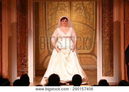 NEW YORK-APR 14: Actress Lisa Howard takes a bow at the curtain call for the Broadway opening night for 'It Shoulda Been You' at The Edison Ballroom on April 14, 2015 in New York City.