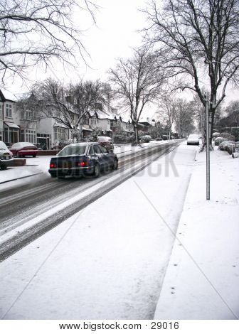 Car On Snowy Street