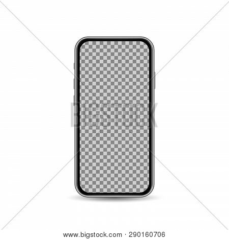 Realistic Smartphone Template With Blank Screen Isolated On White Background. Front View Design Conc