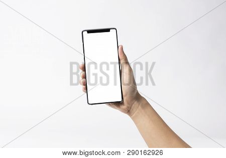 Hand Holding Mobile Phone And Blank Screen For Mockup Template Advertising And Branding Technology B