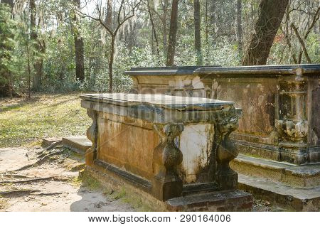 Sarcophagus From Civil War Times By The Ruins Of Old Sheldon Church In South Carolina Forest