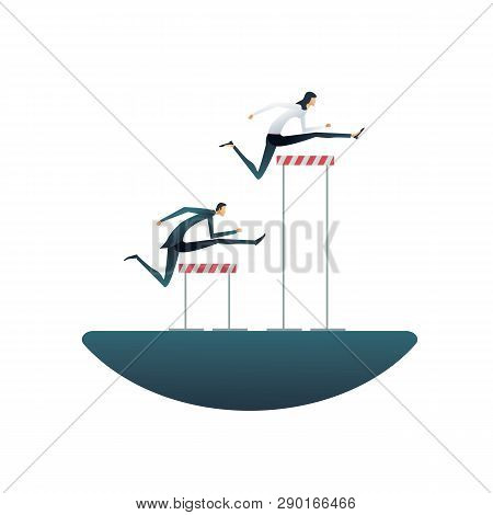 Business Gender Inequality Vector Concept With Businessman And Businesswoman With Different Obstacle