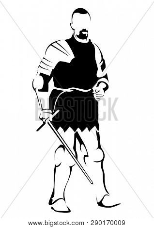 Sketch drawing of an ancient roman warrior on a white background