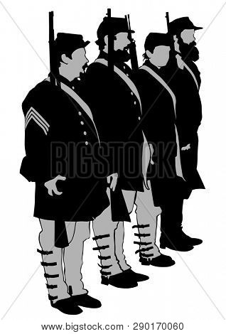 American soldiers in uniform of civil war times on white background