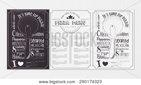 Pizza Food Menu For Restaurant, Pizzeria, Cafe. Design Template Placemat With Two Variants Of Cover