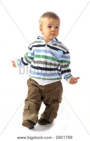 Blond Boy Walking Around