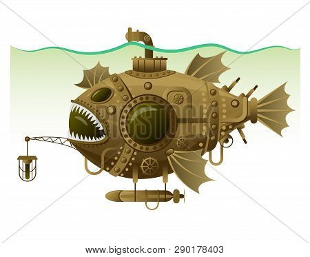 Vector Isolated Image Of The Complex Fantastic Submarine In The Form Of Fish With Machinery, Equipme