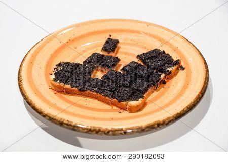 Truffle Cream On Croutons .black Truffles Tuber Aestivum Vitt .