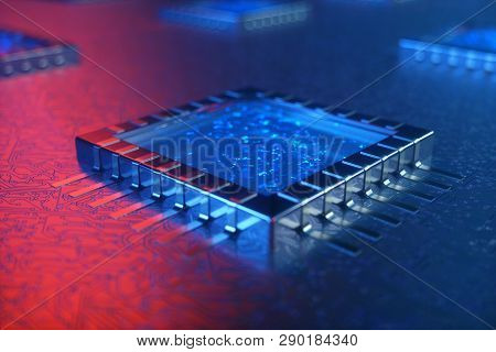 Ai - Artificial Intelligence Concept. Machine Learning. Central Computer Processors On The Circuit B