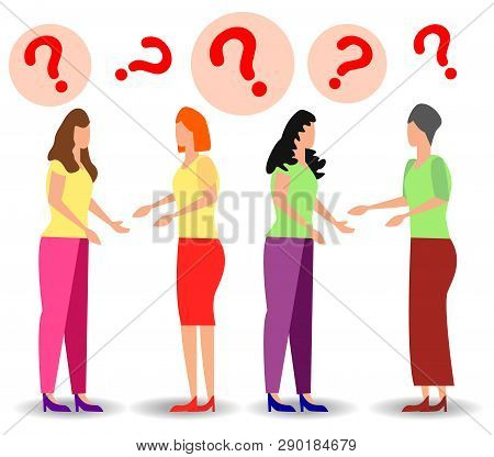 Concept Illustration Of People Frequently Asked Questions, Waiting To Be Answered, Around The Exclam